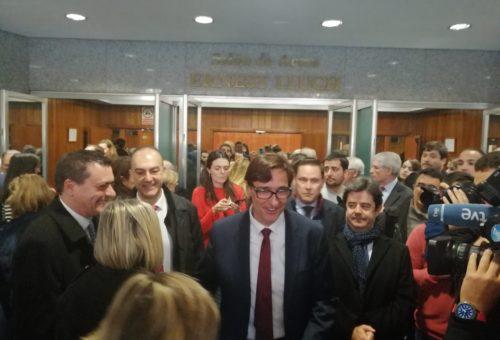 Representantes del PSOE Alto Aragón, en la toma de posesión de los ministros de Sanidad, Exteriores e Interior